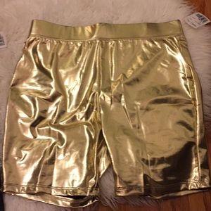 Forever 21 metallic gold shorts. Xs